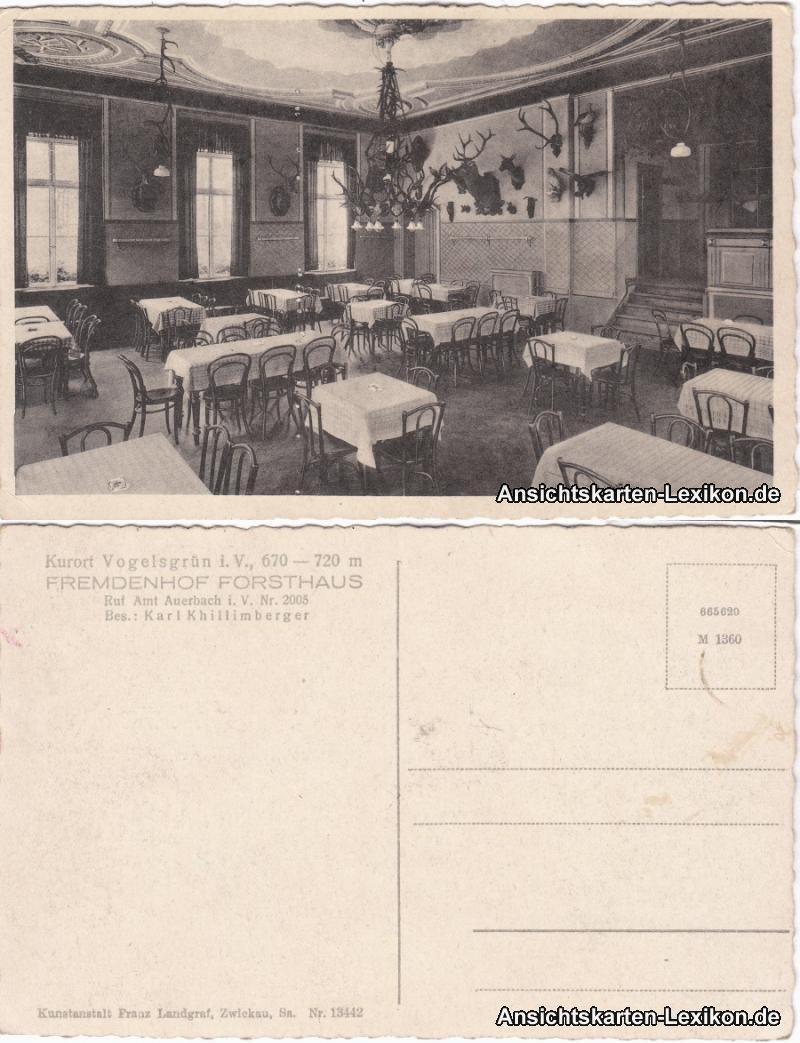 Vogelsgrün-Auerbach (Vogtland) Fremdenhof Forsthaus - Saal 1932