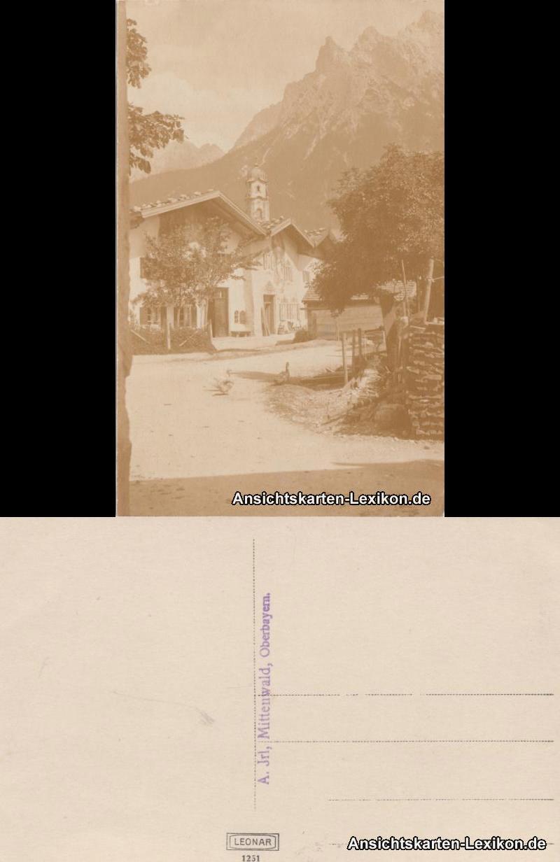 Ansichtskarte Mittenwald Straßenpartie 1918