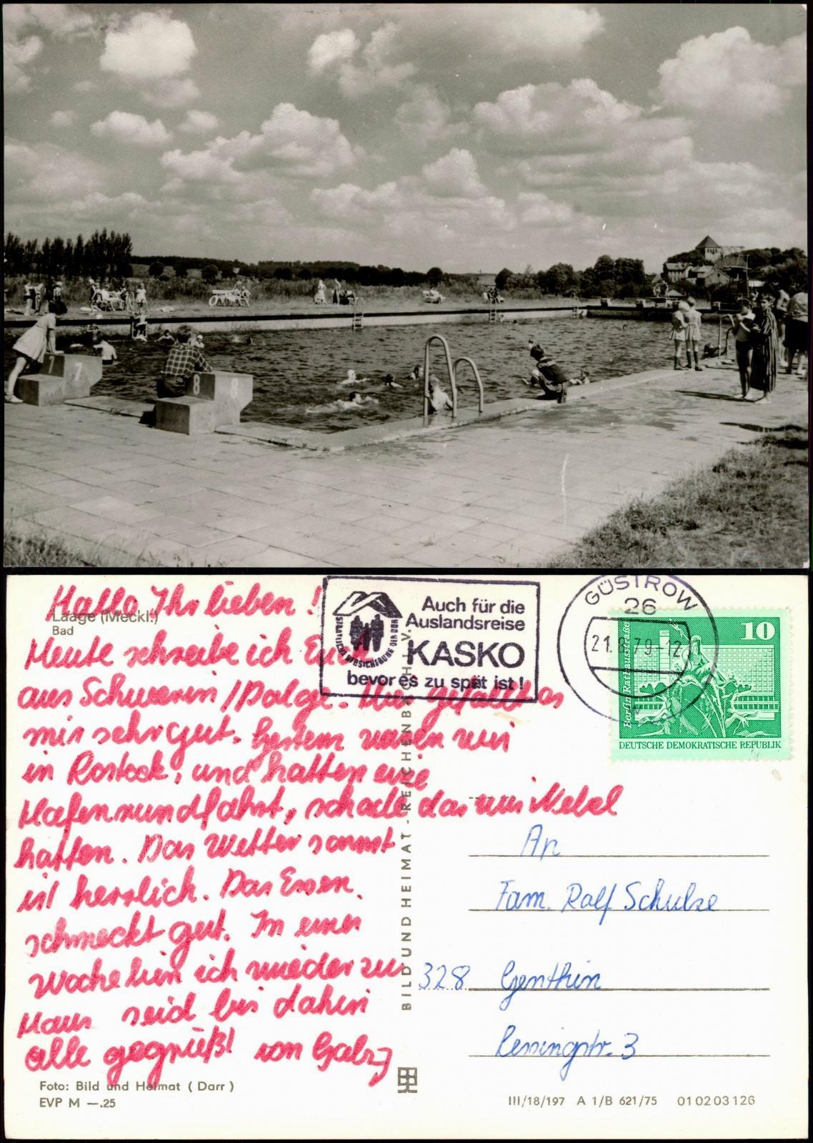 Ansichtskarte Laage (Mecklenburg) Freibad Schwimmbad zu DDR-Zeiten 1979/1975